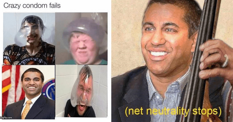 Memes about net neutrality and ajit pai.