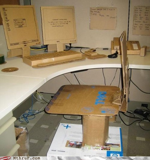 cardboard,cardboard office,chair,Dell