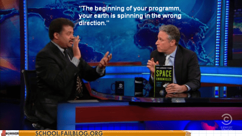 jon stewart,Neil deGrasse Tyson,spinning the wrong way,the daily show