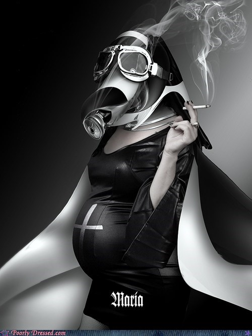 gas mask maria pregnant smoking