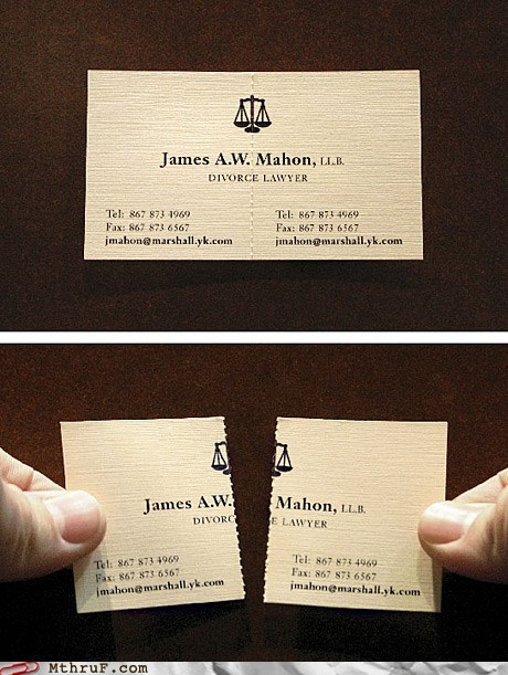 business card,divorce,half