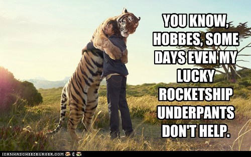 best of the week calvin and hobbes cute Hall of Fame help hug hugging hugs humans lucky rocket ship tiger tigers underpants - 5909387008