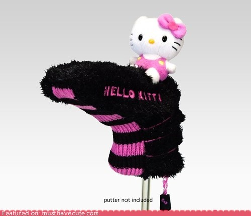 The Hello Kitty Putter Head Covers make golfing fashionable