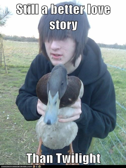 duck fowl still a better love story twilight weird kid - 5909507072