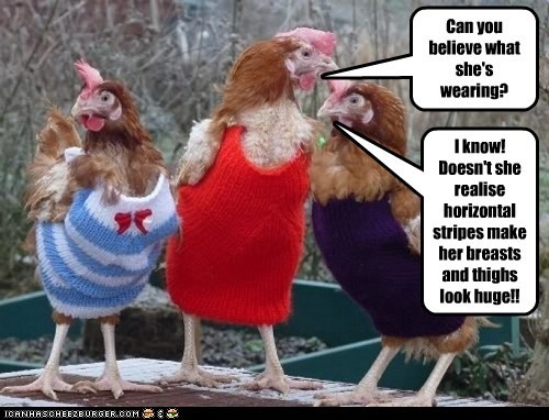 chickens,clothes,complain,costume,girls,gossip,hens,outfits
