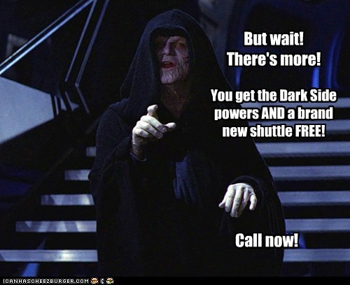 call now dark side Emperor Palpatine infomercial star wars theres-more - 5911065856