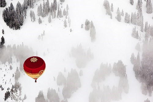 awesome,contrast,europe,getaways,Hot Air Balloon,red,snow,snowy,Switzerland,white,winter