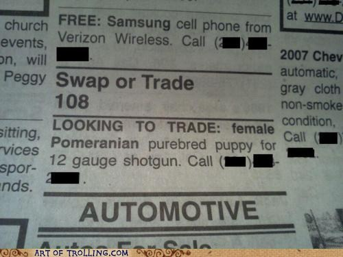 dogs IRL shotgun trade want ad - 5911504896