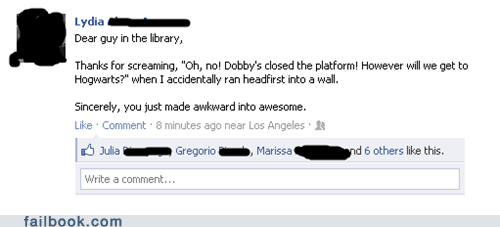 Awkward,failbook,g rated,Harry Potter,zing