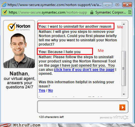 im instant messaging Norton virtual agent