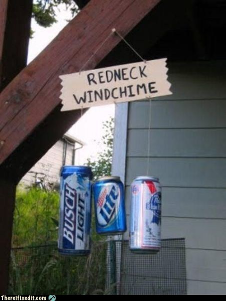 beer cans busch light miller lite pbr redneck windchime - 5911630592