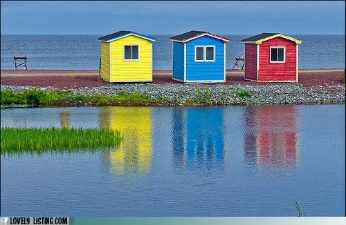 beach cabins colorful houses water - 5911645952