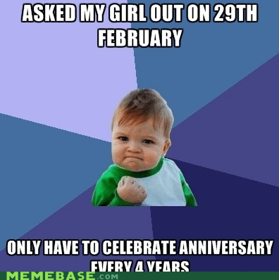 anniversary,dating,february 29th,leap year,success kid