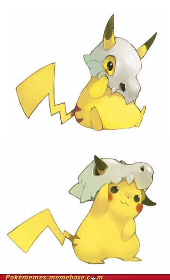 creepy,cubone,cute,evolution,marowak,pikachu,the internets