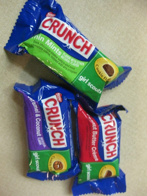 candy bars,crunch,exclusive,girl scouts,nestle