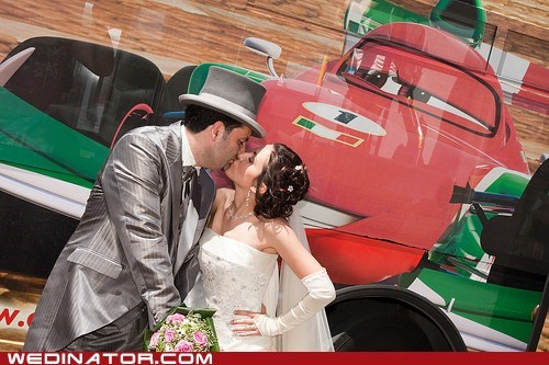 bride,cars,funny wedding photos,groom,KISS,pixar