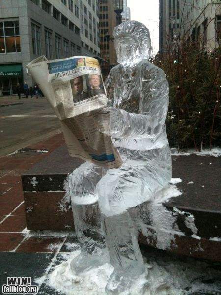 art,business,ice,newspaper,sculpture