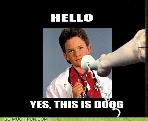 answering,dogs,Doogie Howser,hello,literalism,meme,Neil Patrick Harris,phone,similar sounding,yes this is dog