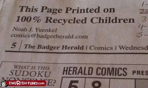 children newspaper Recycled sudoku