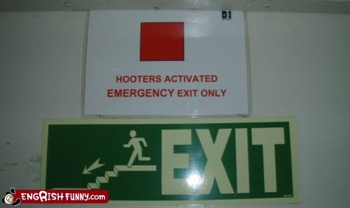 Emergency Exit,exit,hooters,sign