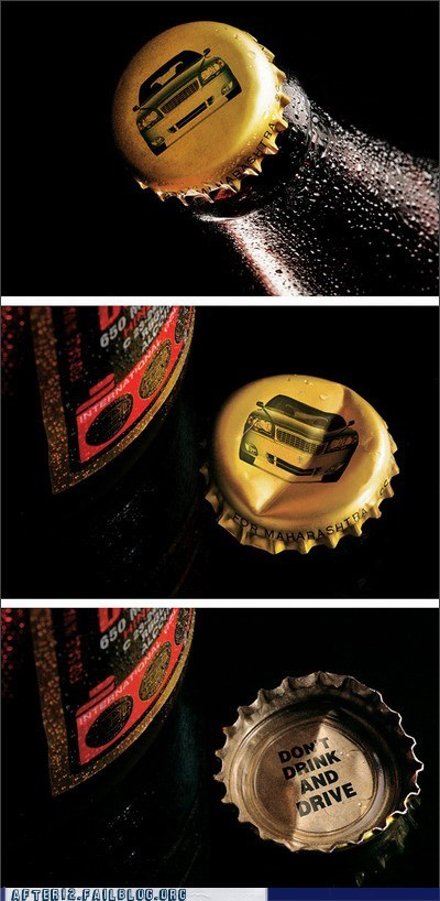 bottle cap car crash design dont drunk driving - 5912929280