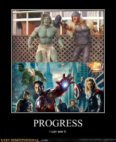 avengers,hilarious,hulk,movies,progress,Thor