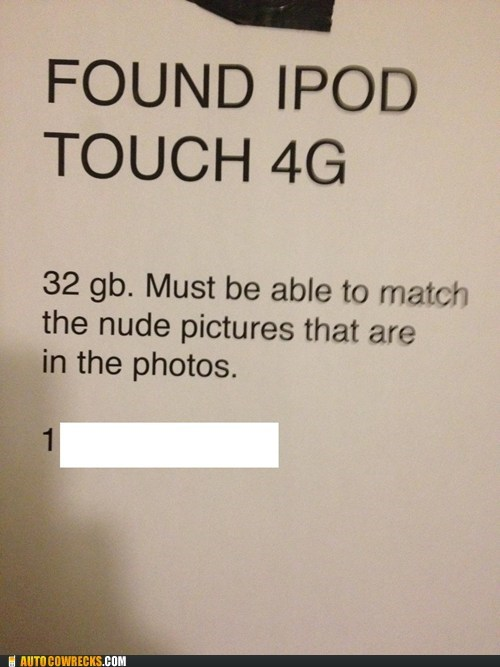 found ipod lost naked pictures sexting sign - 5913270784
