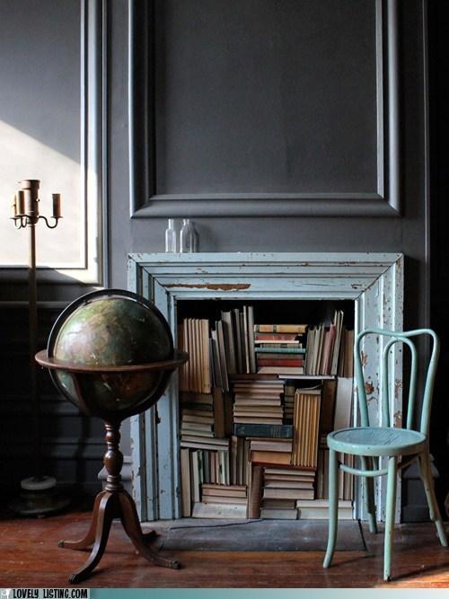 books decor fireplace - 5913344768