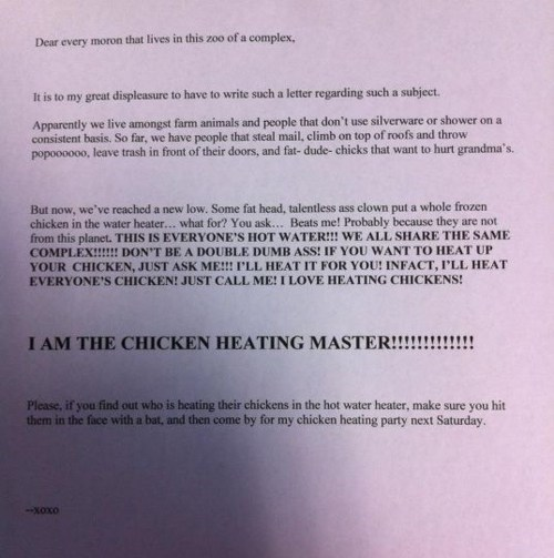 Chicken Heating Master,Passive-Aggressive Note