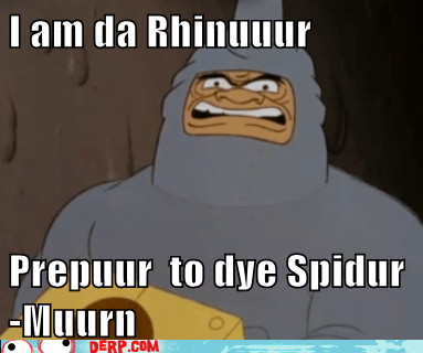cartoons,derp,rhino,spideman