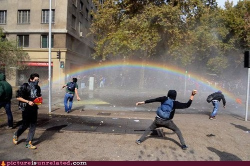 taste the rainbow throwing water wtf