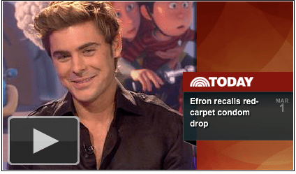 celeb,condom,matt lauer,the lorax,today,zac efron