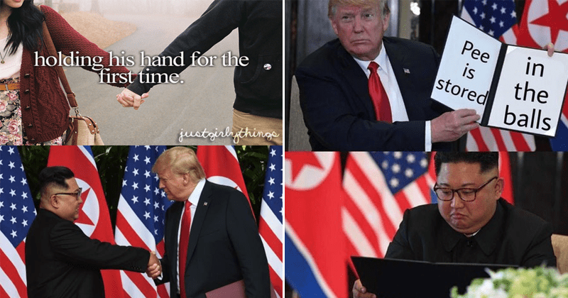 Funny meme about donald trump meeting and shaking hands with kim jong un.
