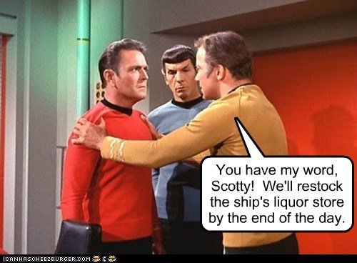 Captain Kirk,james doohan,Leonard Nimoy,liquor,promise,restock,scotty,Shatnerday,Spock,Star Trek,William Shatner