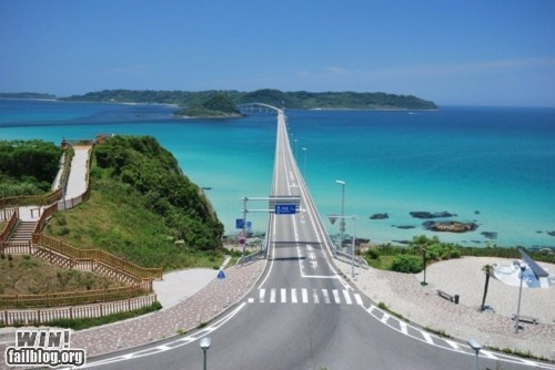 beach bridge oh Japan pretty colors road - 5917230592