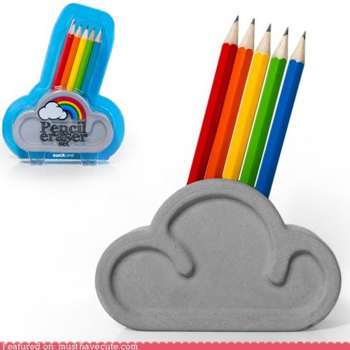 cloud,cute,desk,eraser,pencils,rainbow,set,stand