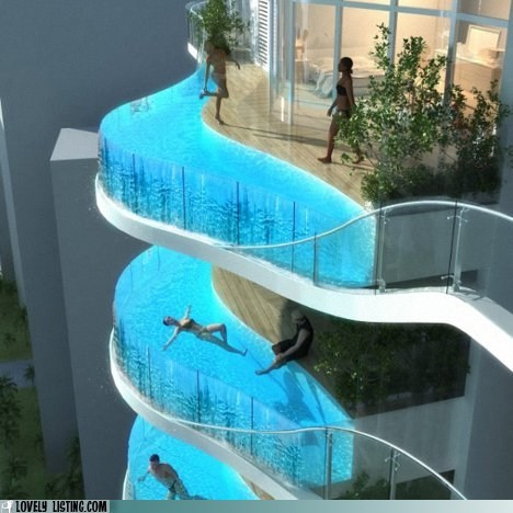 balconies glass pools scary swim water