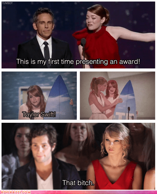 academy awards,actor,ben stiller,celeb,emma stone,funny,Music,oscars,taylor swift