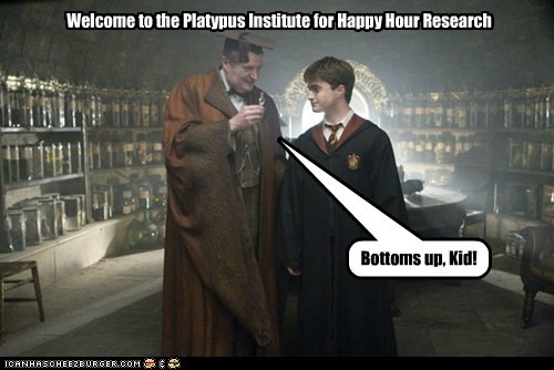 Welcome to the Platypus Institute for Happy Hour Research Bottoms up, Kid!