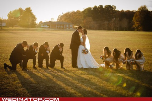 bride,bridesmaids,funny wedding photos,groom,Groomsmen,tebowing,tim tebow
