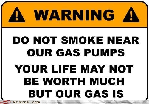 gas pump sign smoking