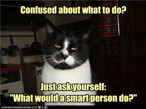 "Confused about what to do? Just ask yourself: ""What would a smart person do?"""