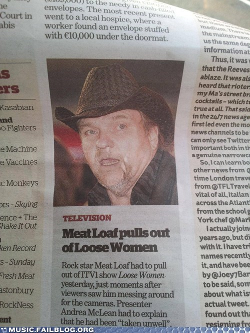 headline,loose women,meatloaf,newspaper,pulling out,sex,television