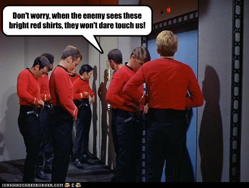 away mission,bull,red,red shirts,Star Trek