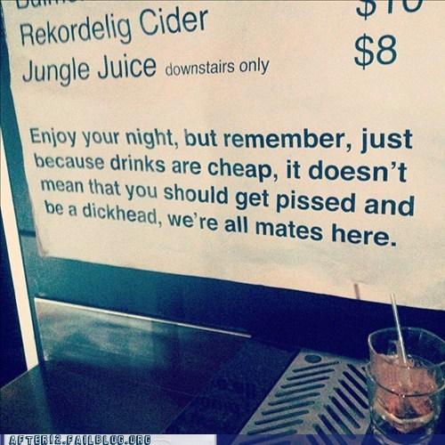 bar courtesy notice sign warning - 5918467328
