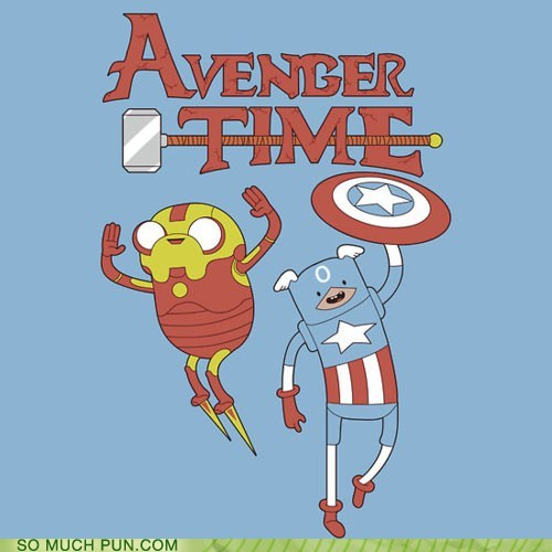 adventure time,avengers,captain america,finn,iron man,Jake,literalism,marvel,similar sounding