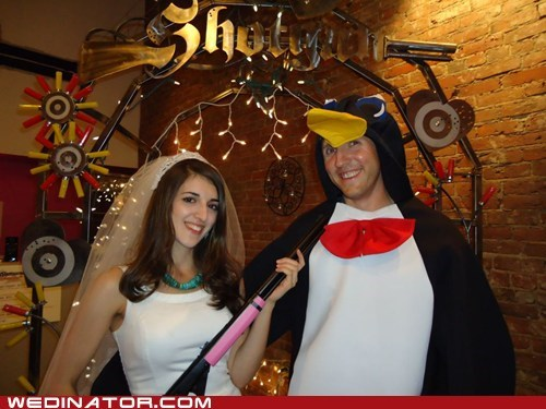 funny wedding photos,penguins,seattle,shotgun,shotgun wedding