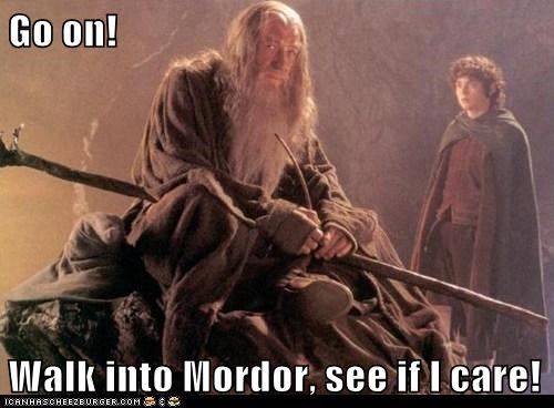care,elijah wood,frodo,gandalf,ian mckellan,Lord of the Rings,mordor,walk into mordor