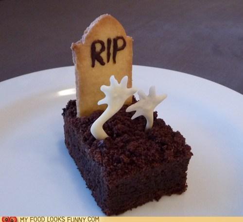 brownie cake chocolate cookies gravestone hands zombie - 5919911680