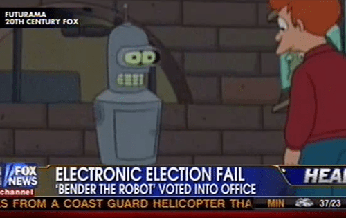 bender futurama hackers rigged election school board Tech voting machines - 5920349952